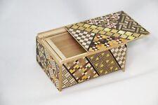 Traditional Japanese Hakone Yosegi Wooden Secret Puzzle Trick Box 4 Steps A
