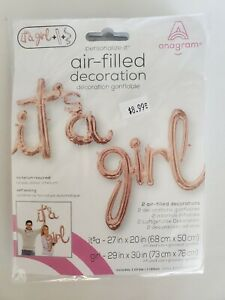 """Foil Balloons. """"It's a Girl"""". Rose Gold. New. Packaged."""