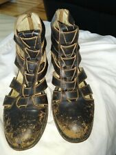 "Freebird Stone Black leather Strap Gladiator Sandals "" booties Size 9"