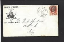 """NEW BEDFORD, MASSACHUSETTS COVER,2CT VERMILLON, FRATERNAL AD: """"KNIGHTS OF HONOR"""""""