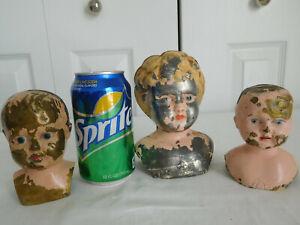 lot of 3 metal TIN BRASS DOLL HEADS antique Juno #6 Minerva #2 need paint repair