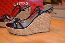 "GUESS  womens wedge High Heel shoe  4 1/2"" heel   Size 7.5  Black Platform"