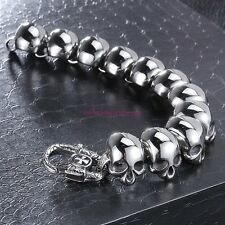 "Hiphop Men/Boy's Huge & Heavy Silver Stainless Steel Skull  Bracelet Chain 8.66"""