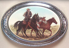 Belt Buckle Barlow Photo Reproduction in Color Mustangs Cowboy Horses 592412c