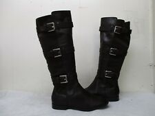 CALVIN KLEIN Hillary Brown Leather Buckle Riding Boots Womens Size 5 M