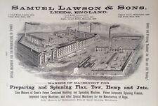 1890 AD(H23)~SAMUEL LAWSON & SONS, LEEDS, ENGLAND. TEXTILE MACHINERY