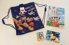 4-pc Mickey & Friends Back Sack, Color Book, Crayons, Autograpghs Book - New
