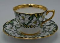 Rosina Bone China England Cup and Saucer Black Yellow White Floral