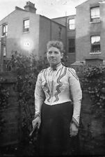 LADY IN BACK GARDEN Antique Photographic Glass Negative (1910s Edwardian RPS)