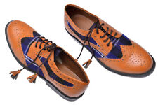 Ghillie Brogues Scottish Kilt Shoes/Brown Ghillie Shoes with Blue Tartan Size-10