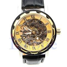 Classic Mens Black Leather Skeleton Gold Dial Mechanical Sport Army Wrist Watch