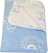 Babydecke Baumwolle Spielzeug hellblau weiss 75 x 100 cm Bett Kinderwagen Junge