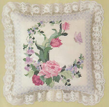 Peony with Blue Border Pillow Counted Cross Stitch Kit Candamar Designs 50148