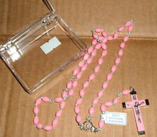 PINK ITALIAN 18 IN ROSARY Oval beads Metal crucifix w/ pink inlay MARY  Case