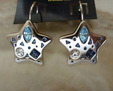 Stern Ohrringe Ohrhänger Earrings m.blauen & weißen Zirkonia Klapp Brisuren