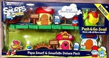 Papa Smurf & Smurfette Deluxe Pack + Push & Go Snail Bonus. Plus # Hologram BNIP