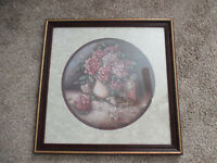 """Vintage HOME INTERIORS Picture Print Vase Of Roses Signed Jan Anderson 22 1/2"""""""