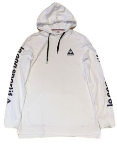 Mens le coq sportif White Long Sleeve Hooded Top With Blue Logo Print - Size S