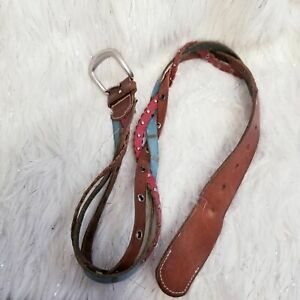 Fossil womans size 8 braided leather colorful small Medium