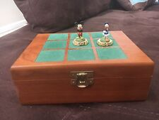 Disney Mickey Mouse Donald Duck Tic Tac Toe, Hand Painted Pewter, Wood Box Rare