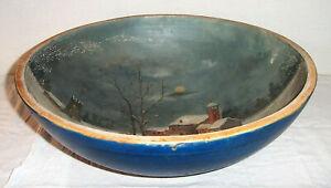 19th Century Large Antique Wooden Dough Bowl  Painted Blue  Night Moon Landscape