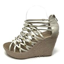 Vince Camuto 8 / 38 Wedge Leather Ivory Strappy Heels Sandals Gladiator Shoes