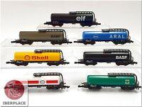 Z 1:220 Spur Märklin mini-club Kesselwagen lang Eisenbahn freight cars Set 7x <