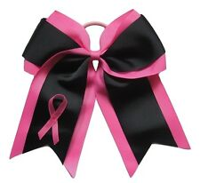 "NEW ""Black BREAST CANCER Ribbon"" Cheer Hair Bow Pony Tail 3"" Girls Cheerleading"