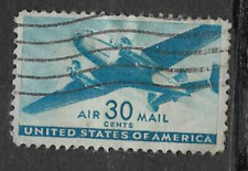 UNITED STATES POSTAL ISSUE 1941 - USED AIRMAIL STAMP TWIN MOTOR TRANSPORT PLANE