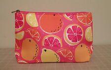 Clinique Pink & Orange Fruits Zippered Cosmetic Bag Lemons Oranges