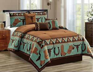 South Western Cow Skull Cowboys Turquoise Rustic Brown Star Comforter Set - 7 Pc
