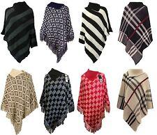 1s Ladies warm High neck Tartan Poncho women Knitted Wrap Cape Shawl One size