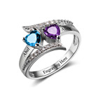 Size 6 Birthstone Hearts Sterling Silver Ring, Personalised, Add Names & Engrave