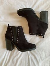 New Look Black Studded Suede Effect Heel Ankle Boots Size 7