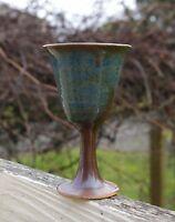 Spun Pottery Art Drinking Glass Wine Goblet Signed by Artist Handmade Blue Brown