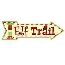 """Outdoor/Indoor Christmas Elf Trail Novelty Metal Arrow Sign 5"""" x 17"""""""