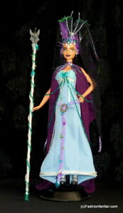 Exotic Gothic Sorceress Witch OOAK Barbie Sequins Roses Lacey Repaint ~FFF