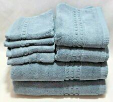 Hotel Vendome Spa Collection 8 Piece Solid Medium Blue Bathroom Towel Set NWT