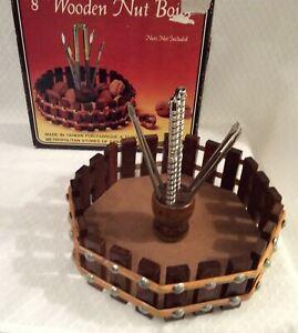 "Vintage Wooden Nut Bowl 8"" Steel Chrome Cracker 4 Picks Mint In Box"