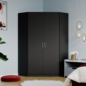 2 Door Wardrobe Black Double Corner Wardrobe Bedroom Furniture Hanging Rail NEW