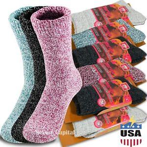 3 Pairs Womens Winter Warm Thermal Lambs Wool Merino Heavy Duty Boot Socks 9-11