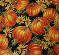 Harvest Splendor BTY Studio 8 VIP Cranston Orange Pumpkin Sunflower Black