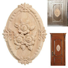 New Woodcarving Decal Oval Embossed Wood Applique Unpainted Furniture Decor 1PC