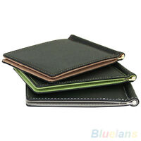 AU_ ALS_ Cool Ultra-Thin Simple Money Clip Faux Leather Card Holder Bifold Mini