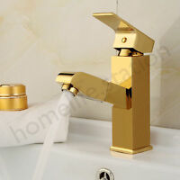 Bad Waschbecken Waschtisch Einhebel Armatur Wasserhahn Mixer in Gold Modern NEU