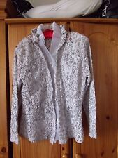Thai Silk & Sapphires Silver Floral Lace/Ribbon Silk Mix Evening Buttoned Top XL