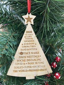 2020 Memories~Xmas tree ornament~Pandemic ~Face Mask~Christmas ornament.WOOD.