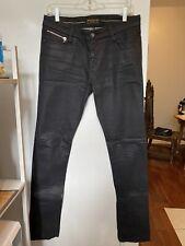 Ben Sherman Black Blue Wax Coated Skinny Jeans 29/34 Zipper Ankle Siouxsie