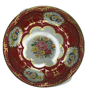 """Vintage Daher Decorated Ware England Tine Metal Ware Red Nut Bowl Dish 10"""""""