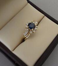 BEAUTIFUL 14K YELLOW GOLD SAPPHIRE RING W/ SPARKLING DIAMOND HALO  - 3.3 GRAMS